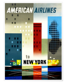 Póster Premium American Airlines to New York