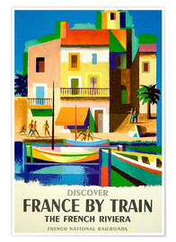 Póster Premium  France by train - Travel Collection