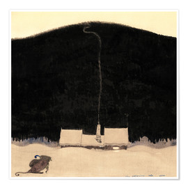 Póster Premium  The house at the foot of the mountain - John Bauer