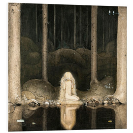 Quadro em PVC  Princess Tuvstarr gazing down into the dark waters of the forest tarn - John Bauer