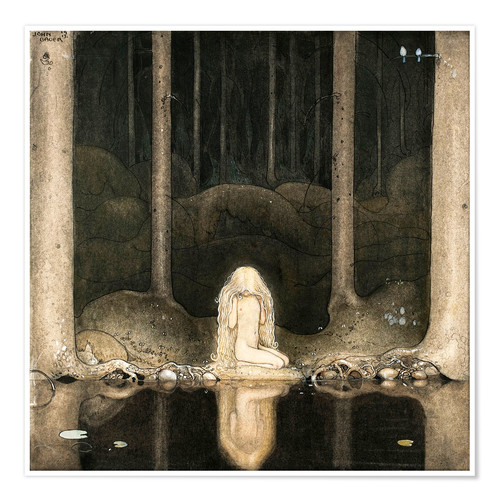 Póster Premium Princess Tuvstarr gazing down into the dark waters of the forest tarn
