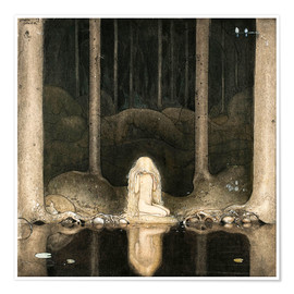Póster Premium  Princess Tuvstarr gazing down into the dark waters of the forest tarn - John Bauer