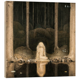 Quadro de madeira  Princess Tuvstarr gazing down into the dark waters of the forest tarn - John Bauer