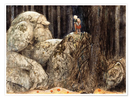 Póster Premium  The Child and the Stone Troll - John Bauer