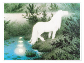 Póster Premium  The Nix as a white horse - Theodor Kittelsen