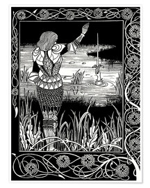 Póster Premium  How Sir Bedivere Cast the Sword Excalibur into the Water - Aubrey Vincent Beardsley