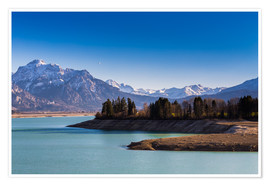 Póster Premium  Lake in Bavaria with Alps - Michael Helmer
