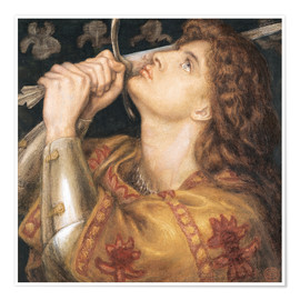 Póster Premium  Knight with sword - Dante Charles Gabriel Rossetti