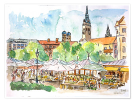 Póster Premium  Munich Food Market Square Day in Summer Aquarell - M. Bleichner