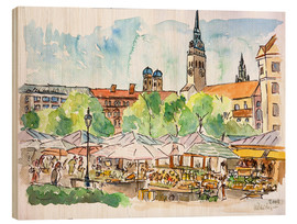 Quadro de madeira  Munich Food Market Square Day in Summer Aquarell - M. Bleichner