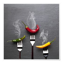 Póster Premium  steaming colorful chili peppers - pixelliebe