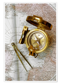 Póster Premium Compass and dividers on a map