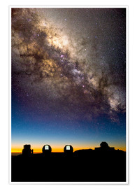 Póster Premium Mauna Kea telescopes and Milky Way