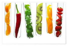 Póster Premium  Fruit and vegetables in test tubes
