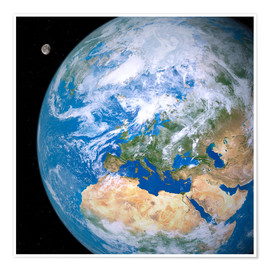 Póster Premium  Earth and the Moon from space - Detlev van Ravenswaay