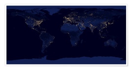 Póster Premium  Earth at night - NASA