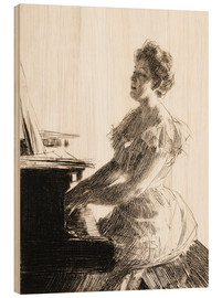 Quadro de madeira  At the piano - Anders Leonard Zorn