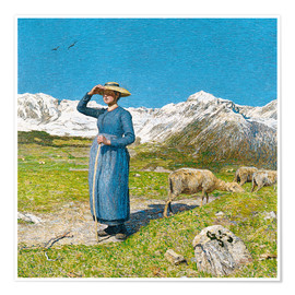 Póster Premium  Lunch in the Alps - Giovanni Segantini