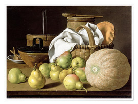 Póster Premium  Still Life with Melon and Pears - Luis Egidio Meléndez