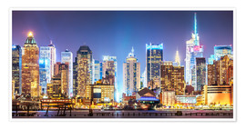 Póster Premium  New York Midtown Skyline by Night - Sascha Kilmer
