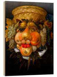 Quadro de madeira  Portrait of a man from fruits - Giuseppe Arcimboldo