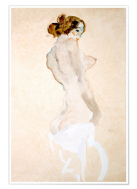 Póster Premium Standing Nude with white shirt