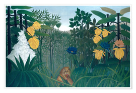 Póster Premium  The meal of the lion - Henri Rousseau