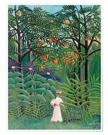 Póster Premium  Woman in an exotic forest - Henri Rousseau