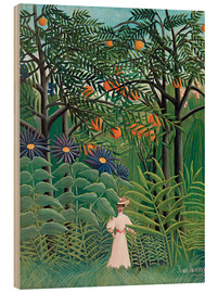 Quadro de madeira  Woman in an exotic forest - Henri Rousseau