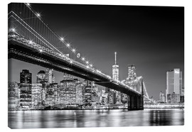 Quadro em tela  Brooklyn Bridge with Manhattan Skyline (monochrome) - Sascha Kilmer