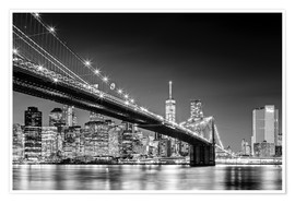 Póster Premium  Brooklyn Bridge with Manhattan Skyline (monochrome) - Sascha Kilmer