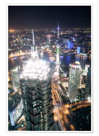 Póster Premium  Shanghai city from the top, illuminated at night, China - Matteo Colombo