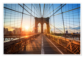 Póster Premium  Ponte de Brooklyn ao nascer do sol, Nova Iorque - Jan Christopher Becke