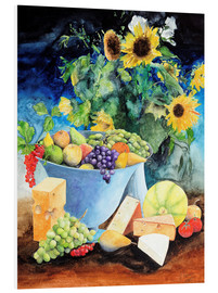 Quadro em PVC  Still life with sunflowers, fruits and cheese - Gerhard Kraus