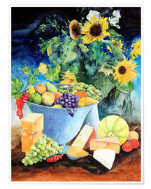 Póster Premium  Still life with sunflowers, fruits and cheese - Gerhard Kraus