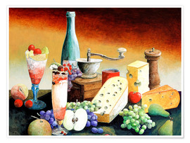 Póster Premium  Stil life with coffee grinder, fruits and cheese - Gerhard Kraus
