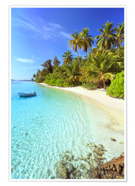 Póster Premium  Tropical beach with a boat, Maldives - Matteo Colombo