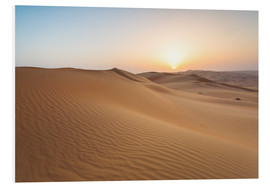 Quadro em PVC  Sunrise over sand dunes, empty quarter desert, Abu Dhabi, Emirates - Matteo Colombo