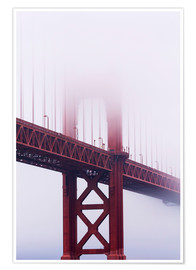 Póster Premium  Golden Gate Bridge in the fog - Jean Brooks