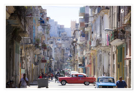 Póster Premium  In the streets of Havana - Lee Frost
