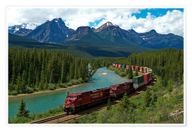 Póster Premium  Morants bend with railroad and Bow River - Hans-Peter Merten