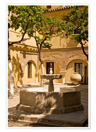 Póster Premium  Terrace with fountain in Seville - Guy Thouvenin