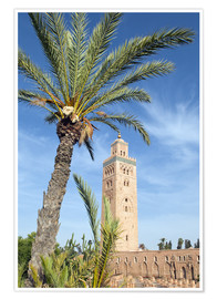 Póster Premium  Minaret of the Koutoubia Mosque, UNESCO World Heritage Site, Marrakech, Morocco, North Africa, Afric - Nico Tondini