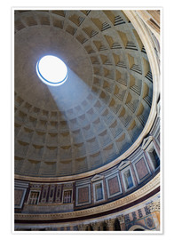 Póster Premium  A shaft of light through the dome of the Pantheon, UNESCO World Heritage Site, Rome, Lazio, Italy, E - Martin Child