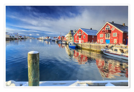 Póster Premium colorful fisherman houses in Norway
