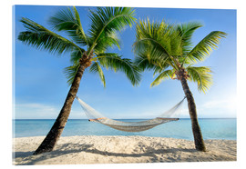 Quadro em acrílico  Hammock at the beach in the south pacific - Jan Christopher Becke