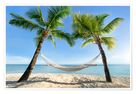 Póster Premium  Hammock at the beach in the south pacific - Jan Christopher Becke