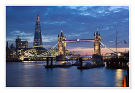 Póster Premium  The Shard and Tower Bridge at night - Stuart Black