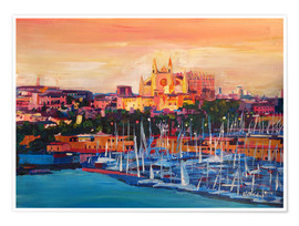 Póster Premium  Spain Balearic Island Palma de Mallorca with Harbour and Cathedral - M. Bleichner