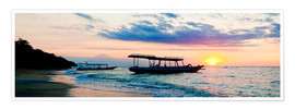 Póster Premium  Mount Agung on Bali and fishing boats silhouetted against a sunset, Gili Trawangan, Gili Isles, Indo - Matthew Williams-Ellis